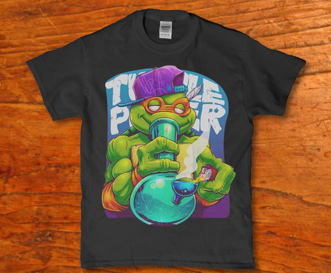 Turtle power smoking bong funny adult 420 unisex t-shirt