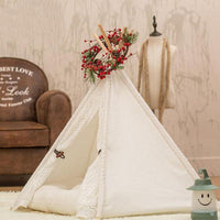Lace Styled Cotton Pet Teepee Tent House