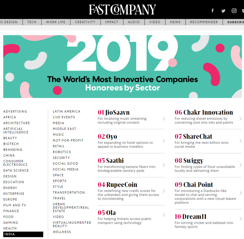 Saathi Eco Innovations Named to Fast Company's Annual List of the World's Most Innovative Companies for 2019