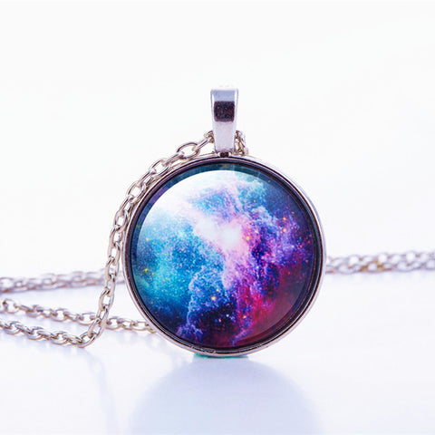 Space, Stars, Planets & Galaxies 3D glass pendant - silver chain - Vintage look