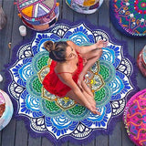 Round Mandala Tapestry - Indian Tassel Lotus - Yoga Mat - Round Beach Towel