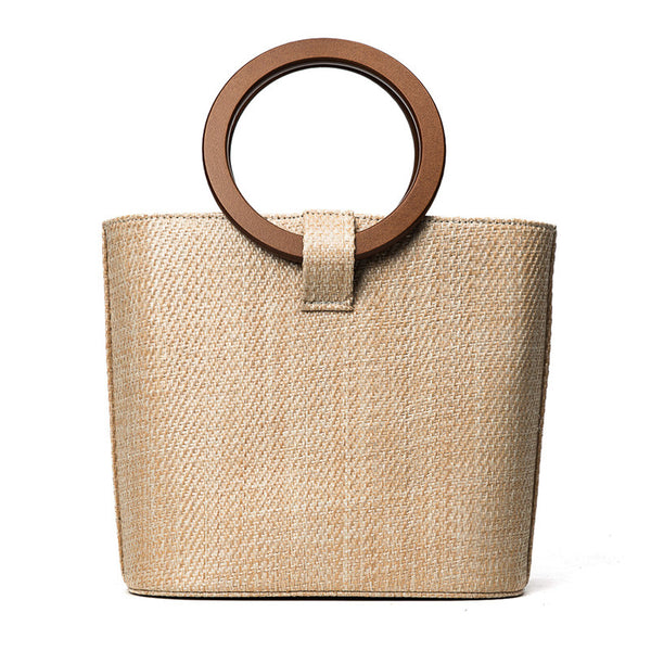 Straw Tote Handbag for Women with round wooden handles & leather strap