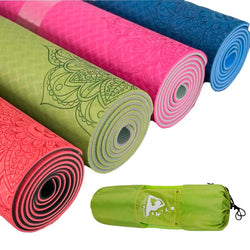 Thick Yoga Mat - Boho style Fitness exercise Mat with bag - Yoga, Pilates, Training