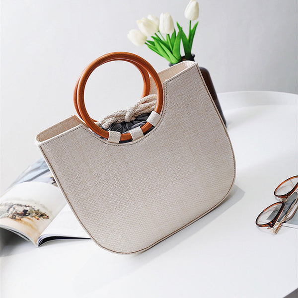 Casual weaved straw Tote Handbag with wooden handles