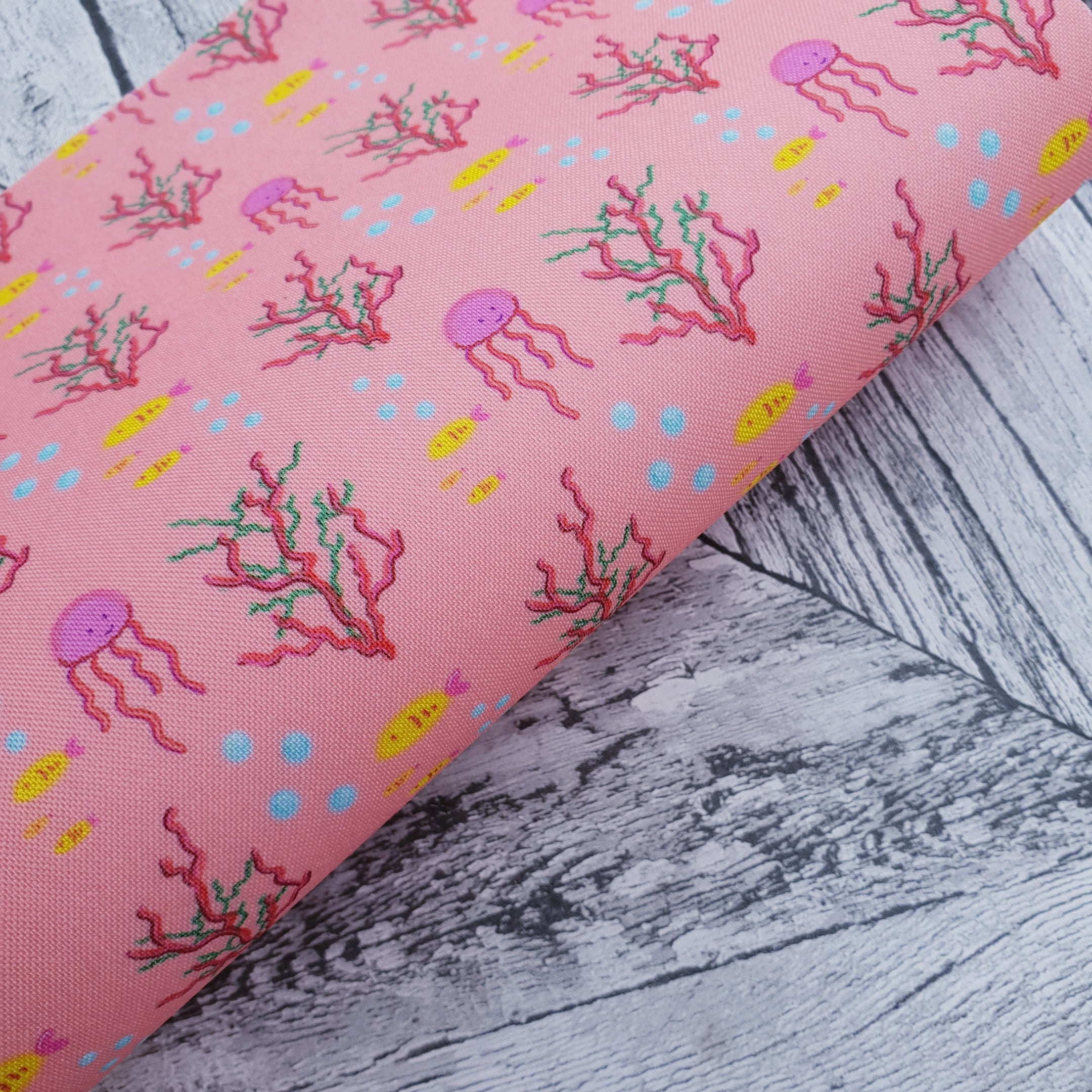 Under the Sea - Peach - Felt Backed Fabric - Honey Bee Craft Store -