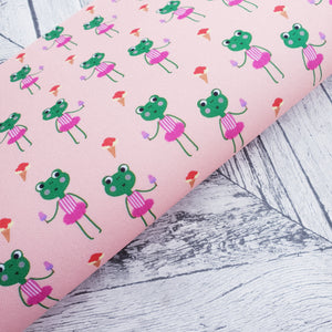 Girlie Froggy and her ice cream - Peach - Felt Fabric