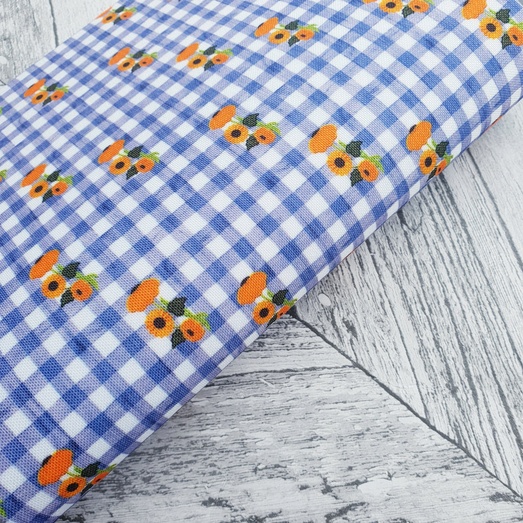 Sunflower Gingham - Felt Backed Fabric - Honey Bee Craft Store -