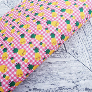 Pineapples Gingham - Felt Backed Fabric - Honey Bee Craft Store -
