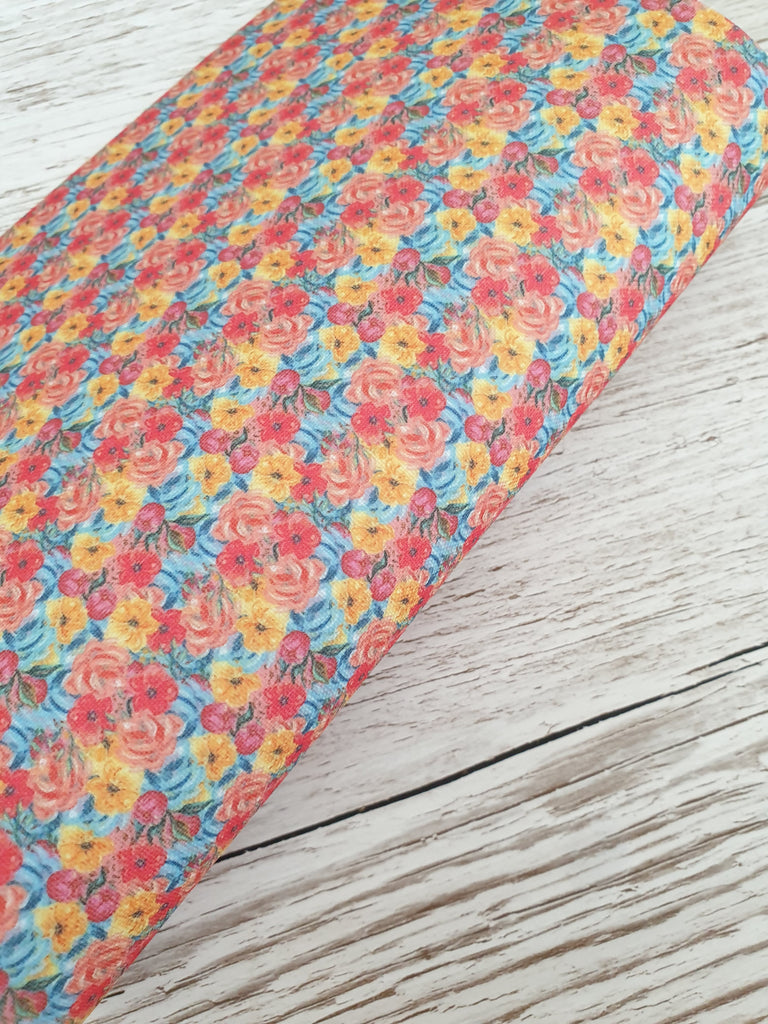Rainbow Blossoms - Premium Felt Backed Fabric - Honey Bee Craft Store