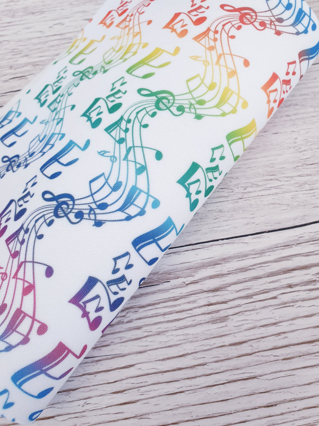 Rainbow Musical Notes  - Felt Backed Fabric - Honey Bee Craft Store