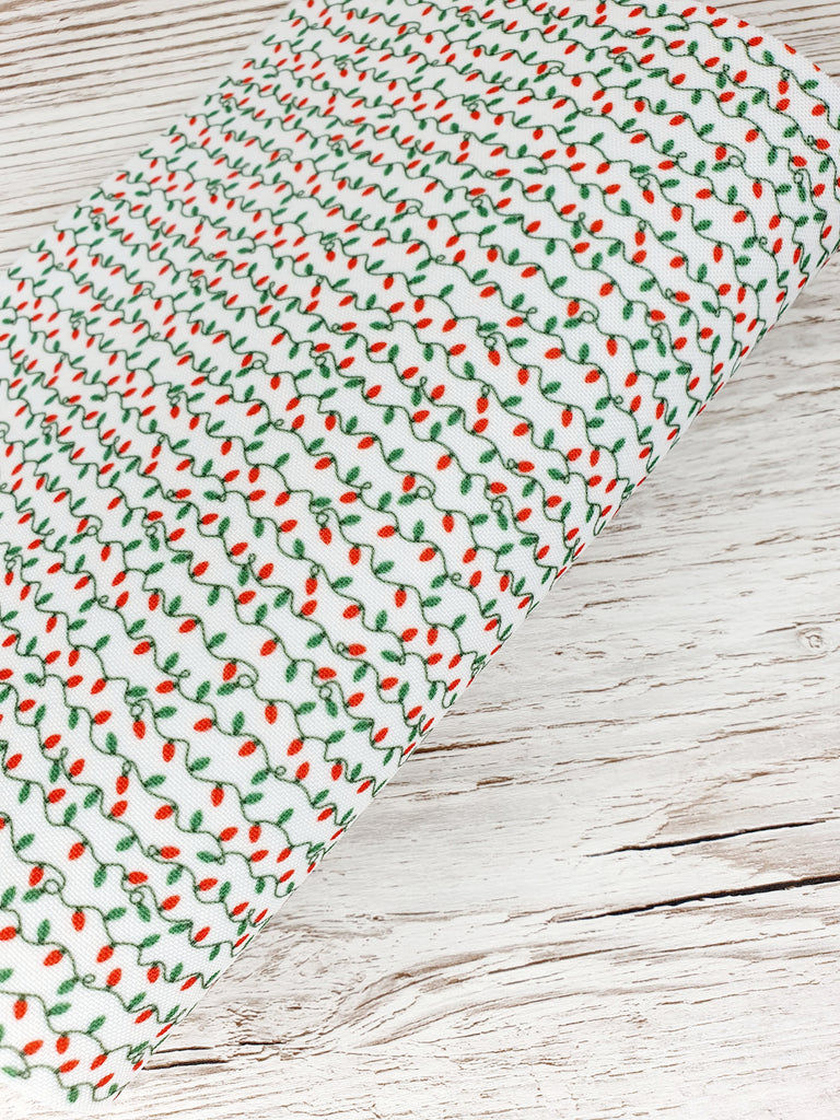 Green and Red Christmas Lights -  Premium Felt Backed Fabric - Honey Bee Craft Store