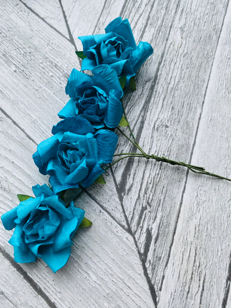 Turquoise  - 3.5 cm Mulberry Paper Roses - Honey Bee Craft Store