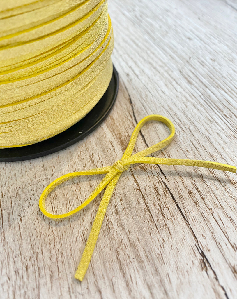 2mm wide Glitter Powder Faux Suede Cord - Yellow