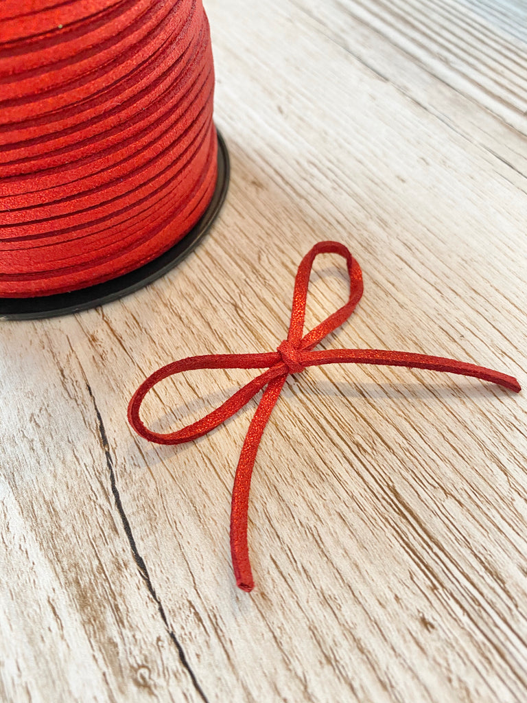 2mm wide Glitter Powder Faux Suede Cord - Red