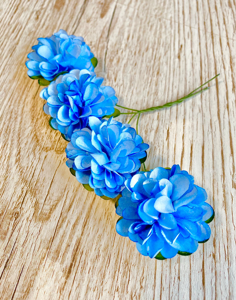 Blue Flower Heads - 3.5 cm Mulberry Paper Roses - Honey Bee Craft Store