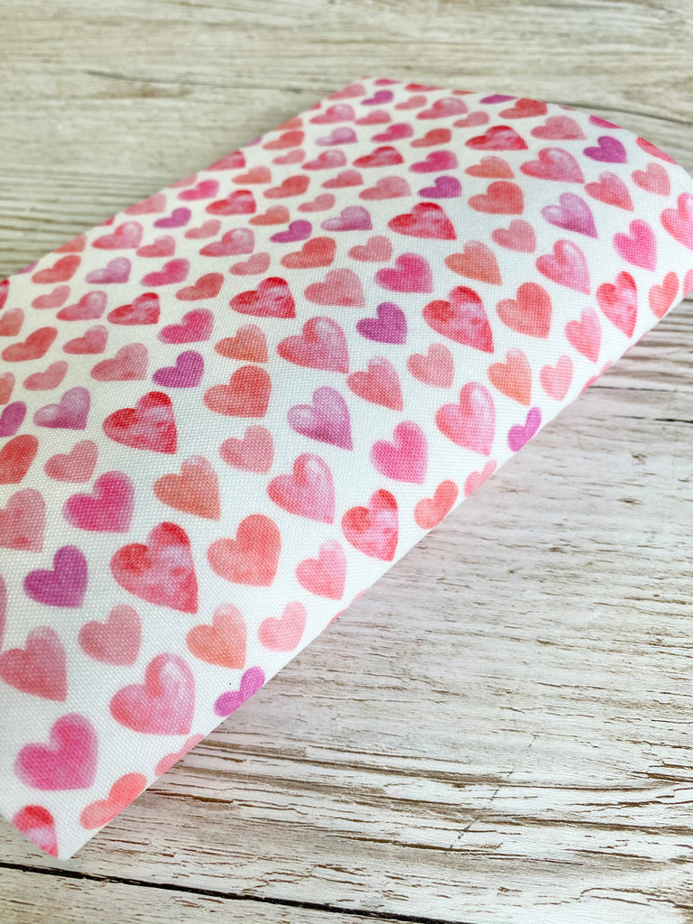 Pretty Pink Love Hearts - Premium Felt Backed Fabric - Honey Bee Craft Store