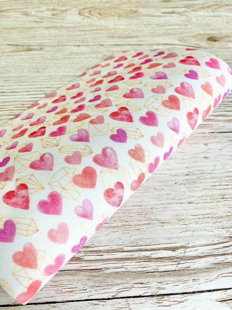 Pretty Pink Hearts & Crystals - Premium Felt Backed Fabric - Honey Bee Craft Store