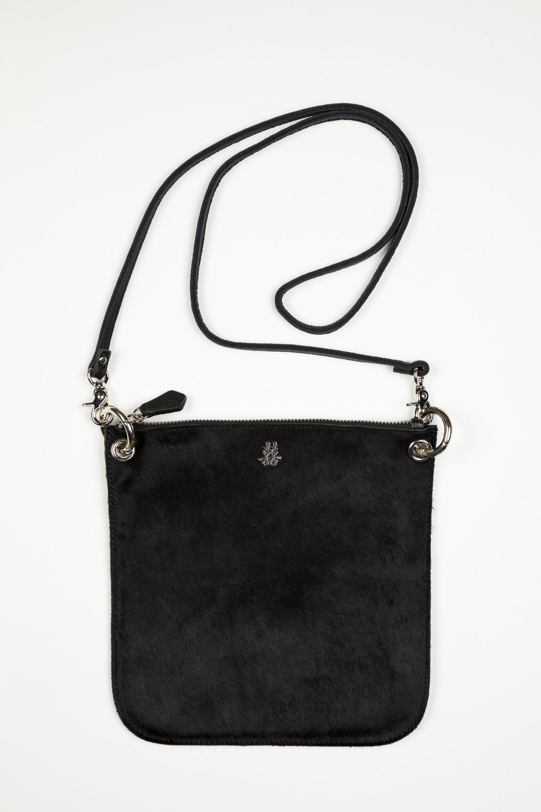 Happy Handbag / Black Pony with Silver Hardware