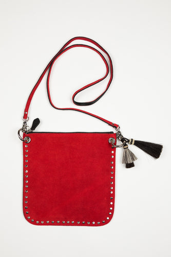 Hippie Handbag / Red Suede