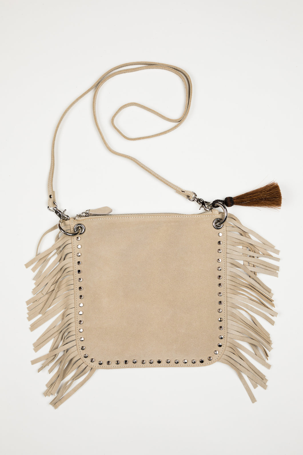Hippie Fringe / Taupe Suede
