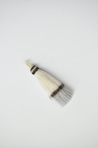 Horse Hair Tassel Dip-dyed White/Grey