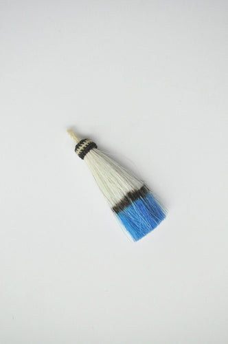 Horse Hair Tassel Dip-dyed White/Sky Blue
