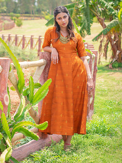Orange Brocade Gown