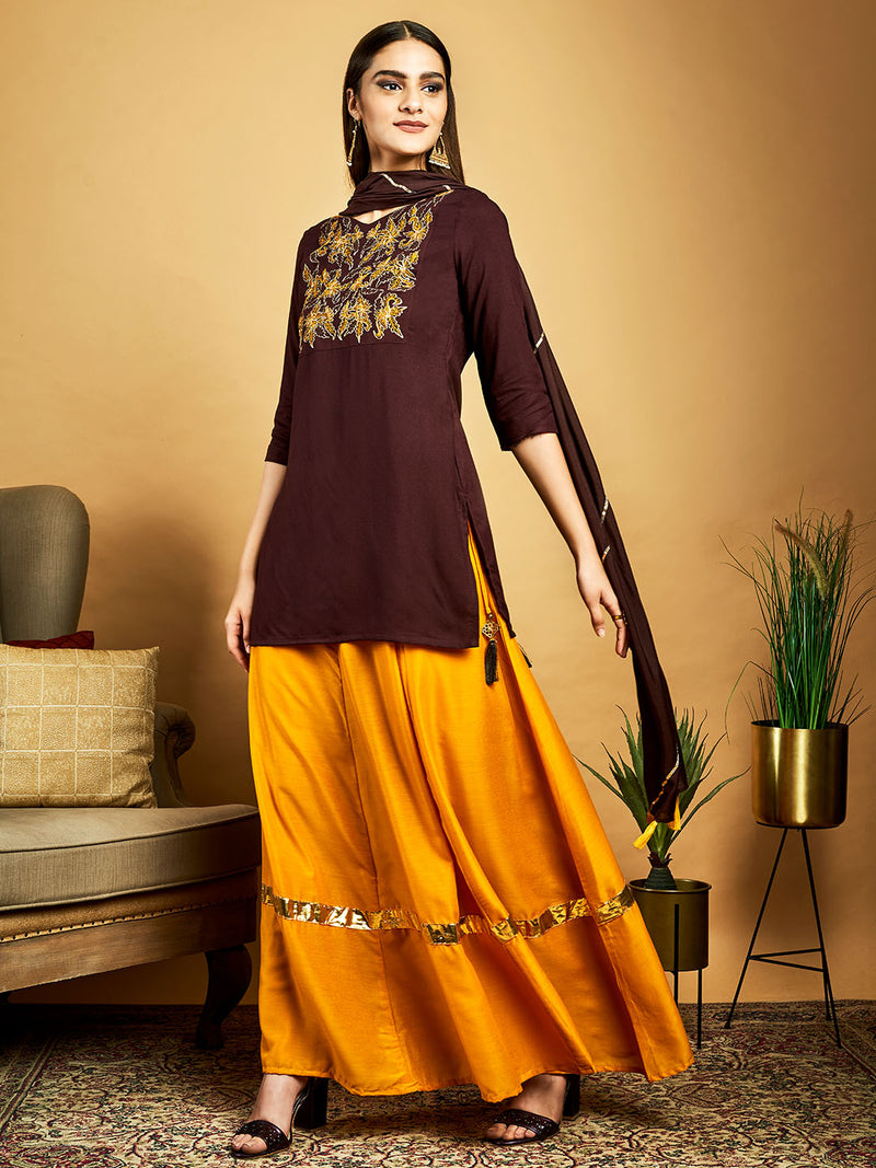 Brown Embroidered Kurta Set