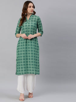 Teal Green Printed Kurta