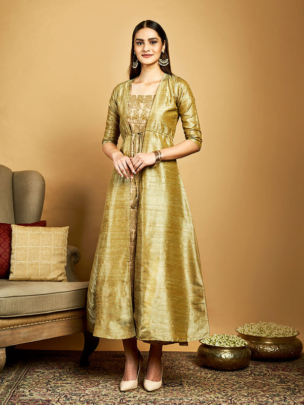 Beige Printed Gown Set