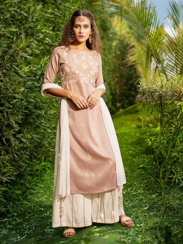 Gota Embroidered Pastel Pink Kurta