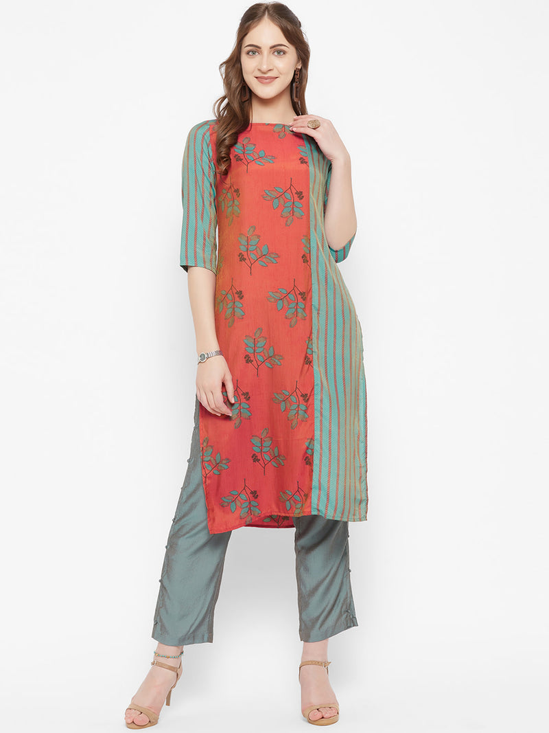 Orange Printed Kurta