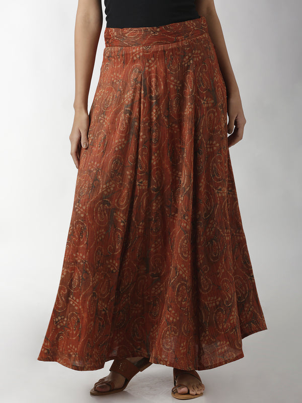 Flared Paisley Print Brown Skirt