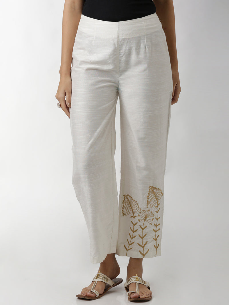 White Silk Embroidered Pants