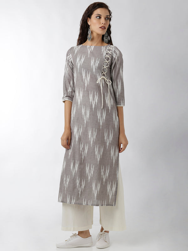 Criss-Cross Ikkatt Print Grey Kurta