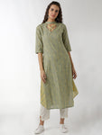Breya Statement Neck Side Flair Green Printed Straight Kurta