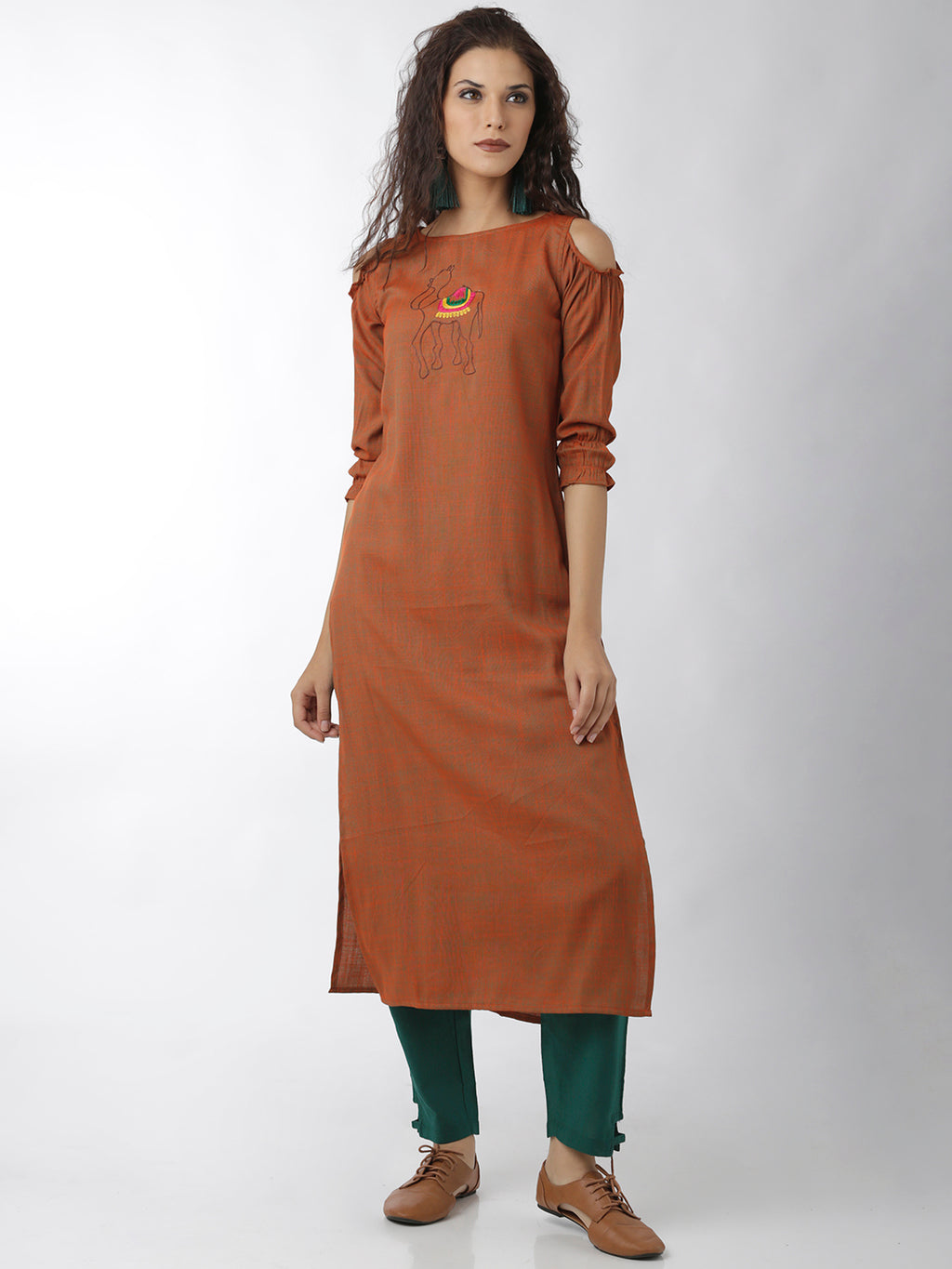Breya Statement Sleeves Embroidered Orange Straight Kurta