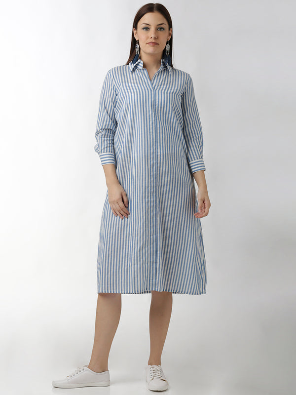 Blue Striped Shirt Dress