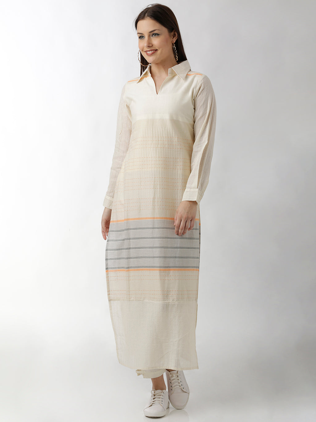 Breya Shirt Collar High Slit Long Straight Kurta