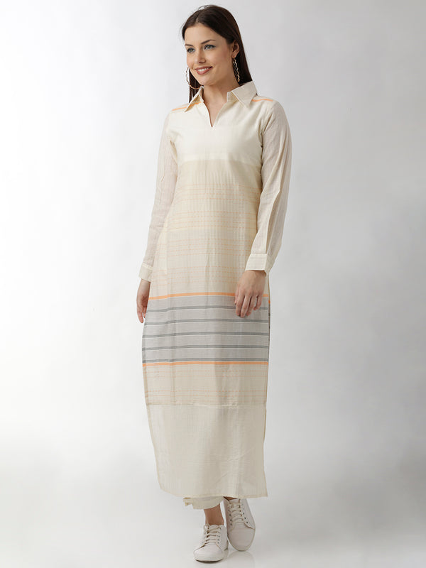 Shirt Collar Long Straight Kurta