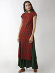 Breya Simple Straight Maroon Floral Printed Kurta