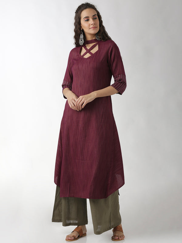 Statement Neck Flared Panel Kurta