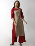 Breya Statement Show Overlap Embroidered Straight Kurta