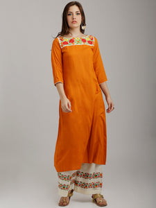 Breya Yoke Embroidered A-Line Orange Kurta