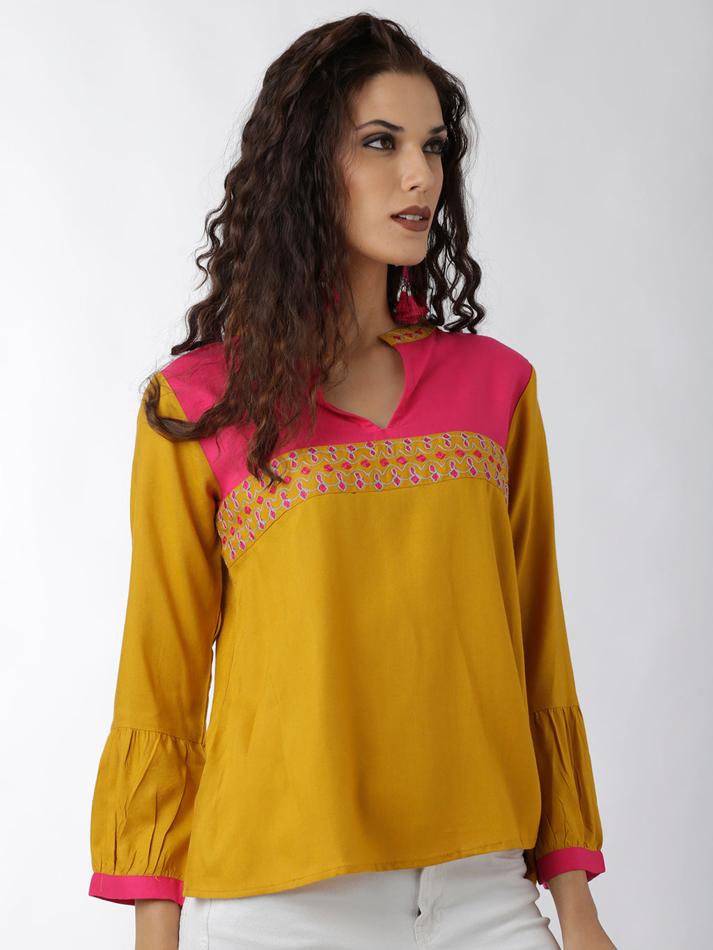 Breya Embroidered Yoke Yellow Solid Mandarin Collar Top