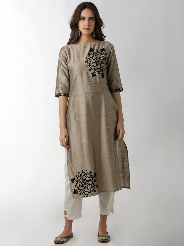 Boat Neck Embroidered Grey Straight Kurta