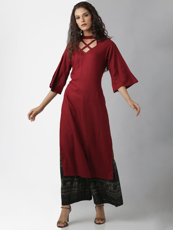 Statement Neck Solid Maroon Straight Kurta