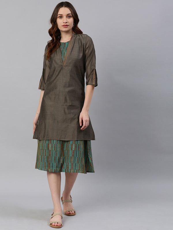 Sea Green & Brown Printed A-Line Dress