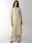 Breya Brocade Cream Straight Kurta