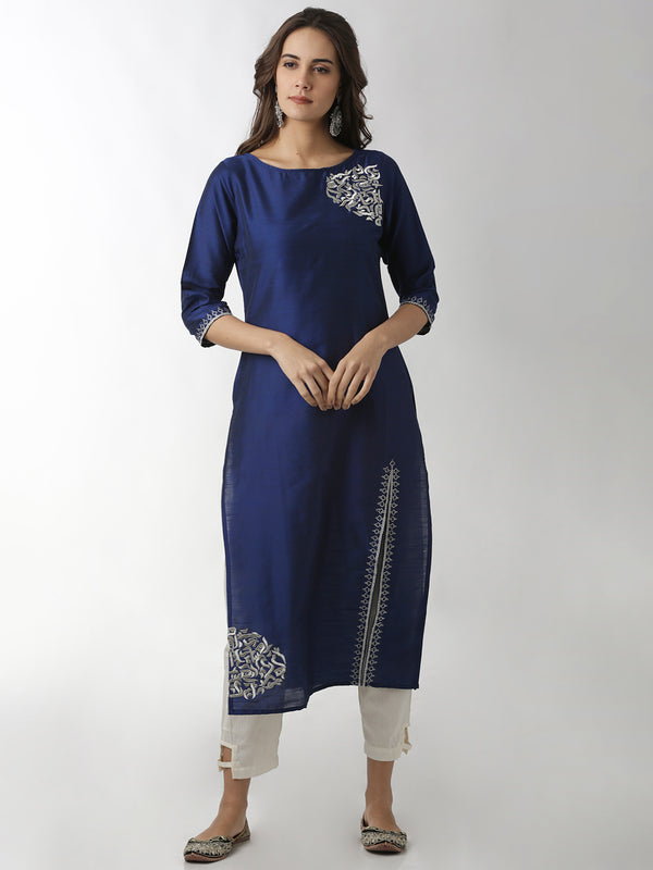Front Slit Navy Blue Embroidered Kurta